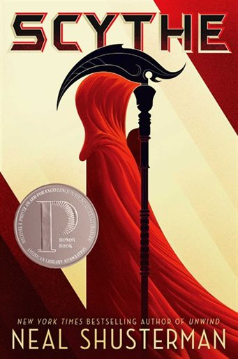 profile of figure in red cloak with scythe