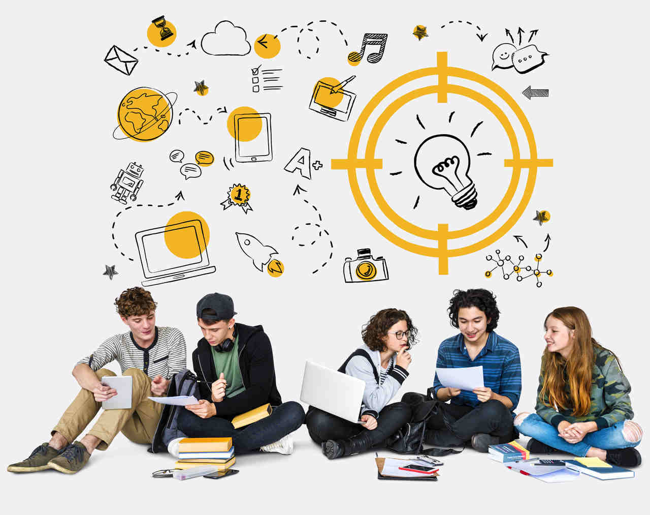 Students sitting on floor with yellow and black homework icons overhead
