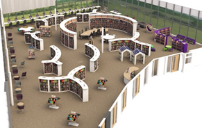 Artist's rendition of Sherwood library outside at night