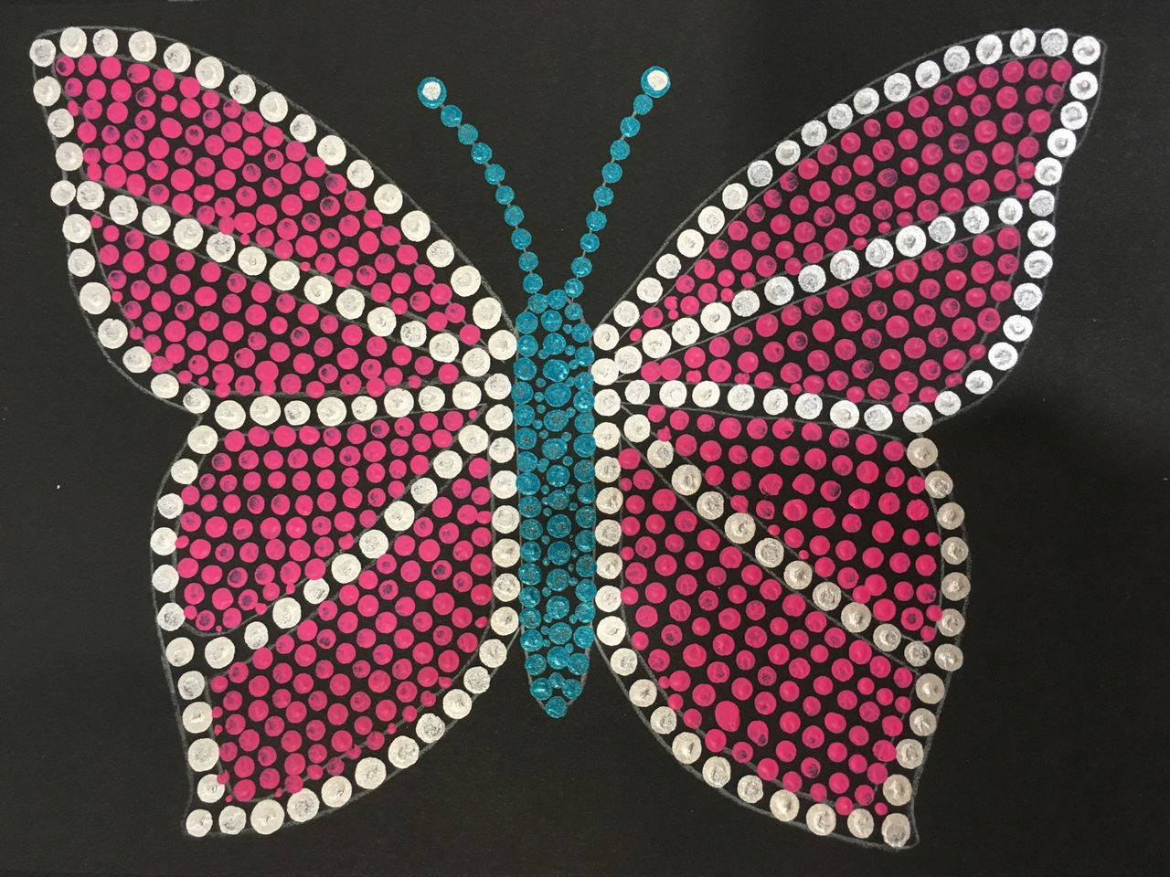Dot Art Painting of a Butterfly