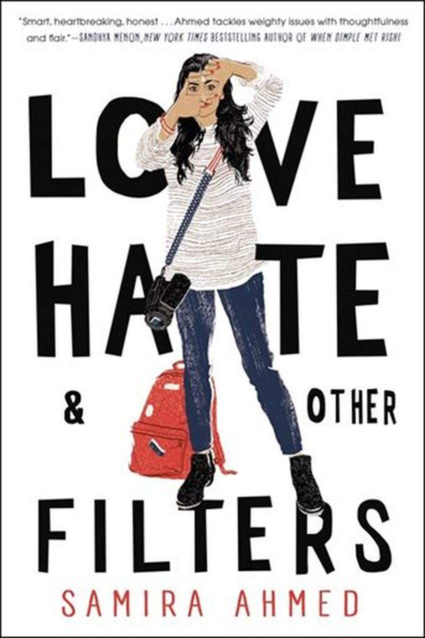 Indian teenage girl standing in from of words love, hate, and other filters