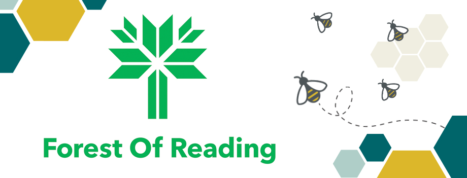 forest of reading with hexagons and bees