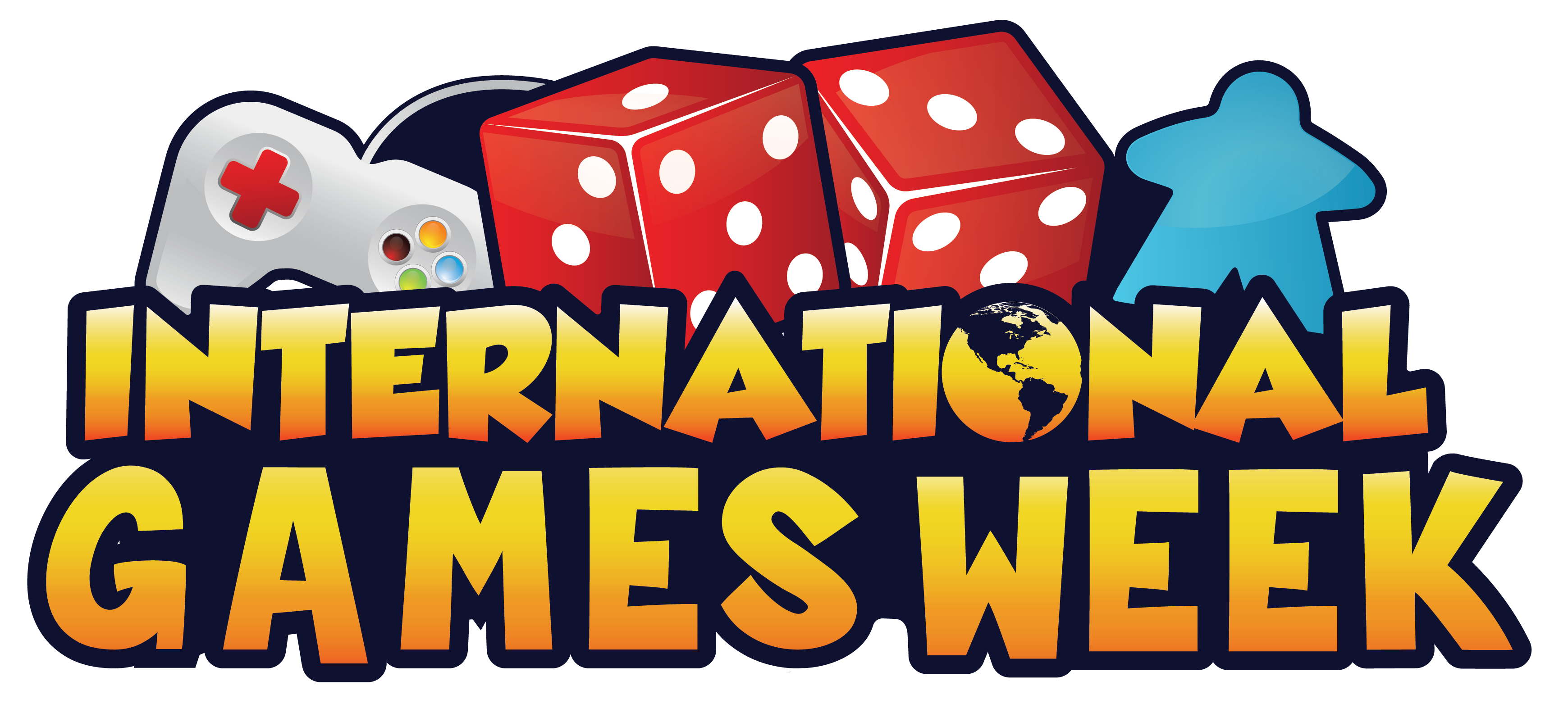 Logo international games week: words with dice, controller, and avatar